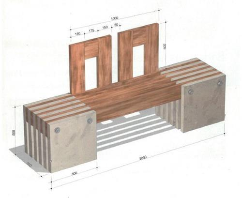 чертеж скамьи для сада