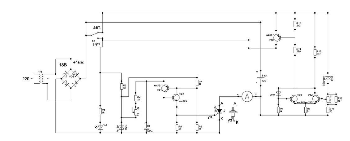 Схема зу для автомобильного аккумулятора своими руками